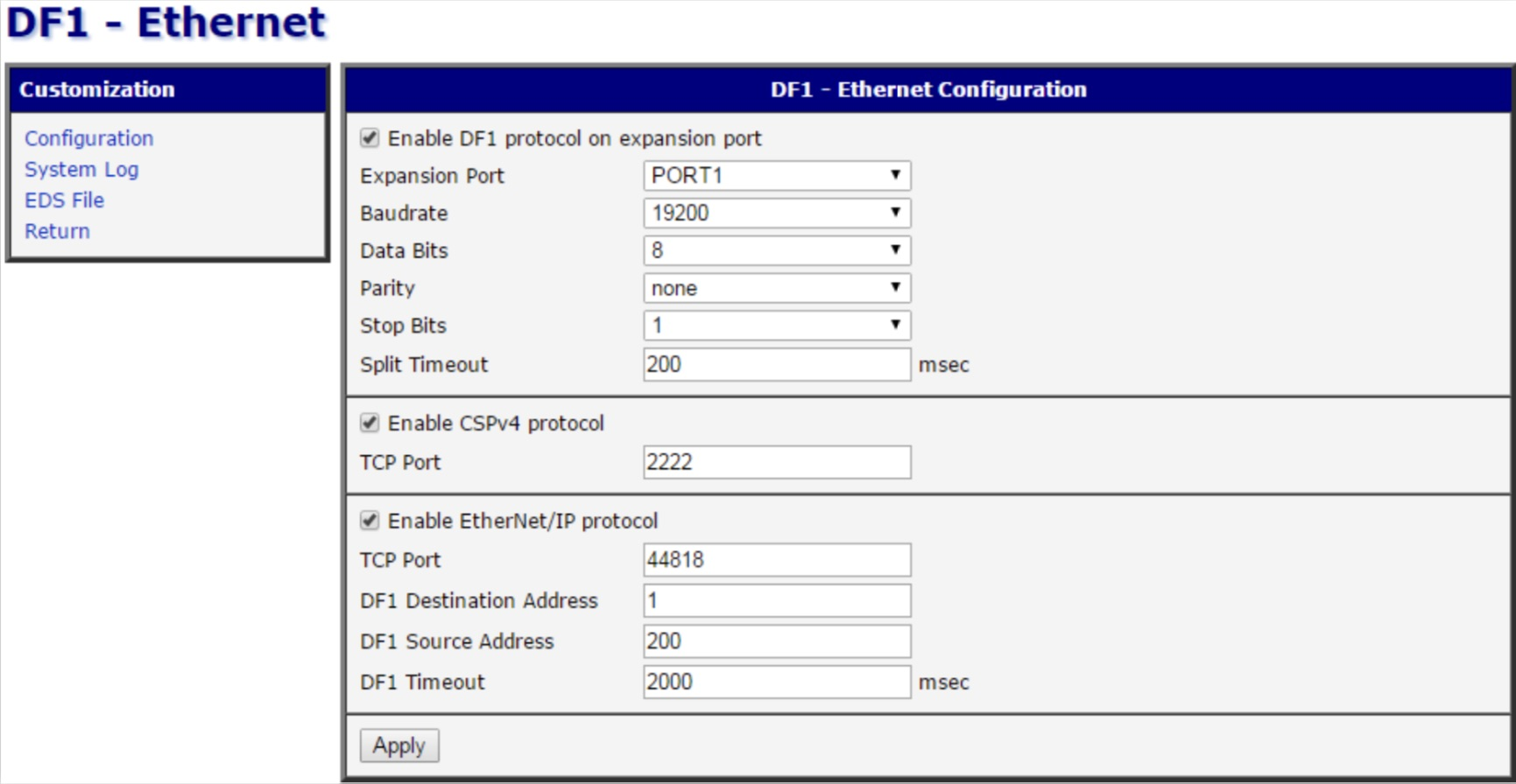 Configuration Options of DF1 to Ethernet/IP 4G modem router